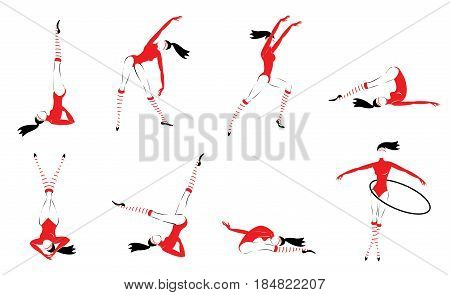 Colorful gymnasts set with flexible girls exercising and training in different poses isolated vector illustration