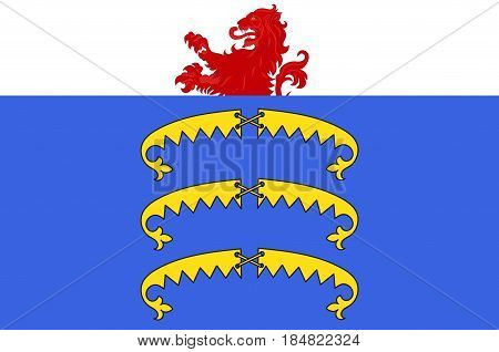 Flag of Gex is a commune in the Ain department in eastern France. Vector illustration