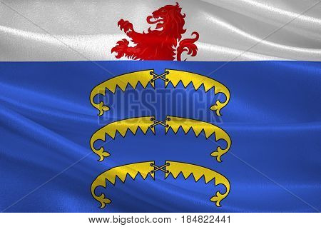 Flag of Gex is a commune in the Ain department in eastern France. 3D illustration