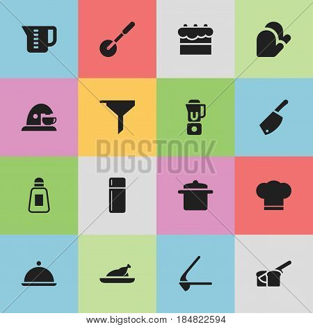 Set Of 16 Editable Cook Icons. Includes Symbols Such As Crusher, Cookware, Knife Roller And More. Can Be Used For Web, Mobile, UI And Infographic Design.