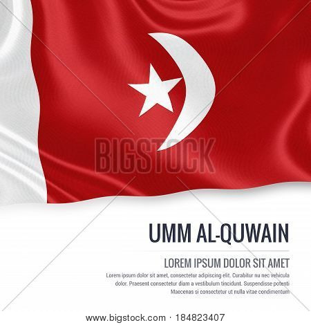 The United Arab Emirates state Umm al-Quwain flag waving on an isolated white background. State name and the text area for your message. 3D illustration.