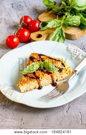 Spaghetti Frittata With Eggs And Cheese