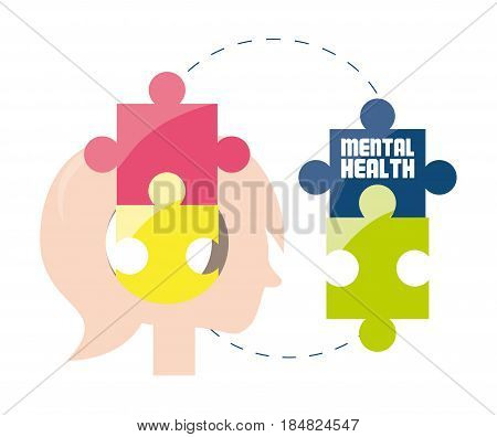 woman silhouette with puzzle mental game, vector illustration