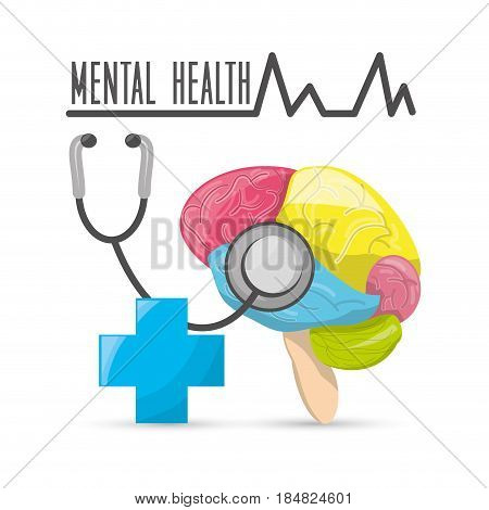 mental healthy with stethoscope and hospital symbol, vector illustration