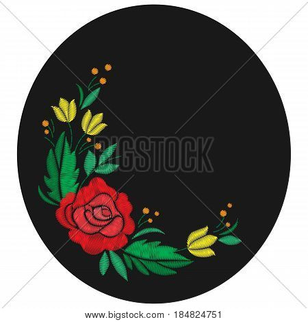 Vintage flower composition embroidery. Elements of clothing design. Round composition. Vector illustration