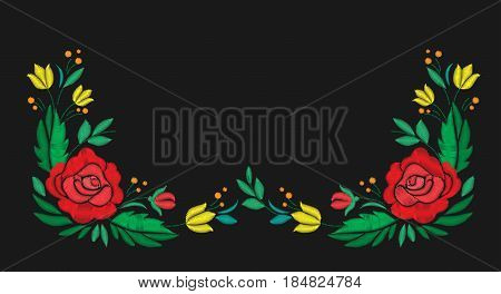 Vintage flower composition embroidery. Elements of clothing design. Horizontal composition. Vector illustration