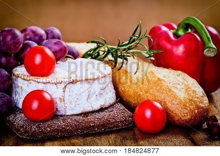 Camembert, Bread And Vegetables