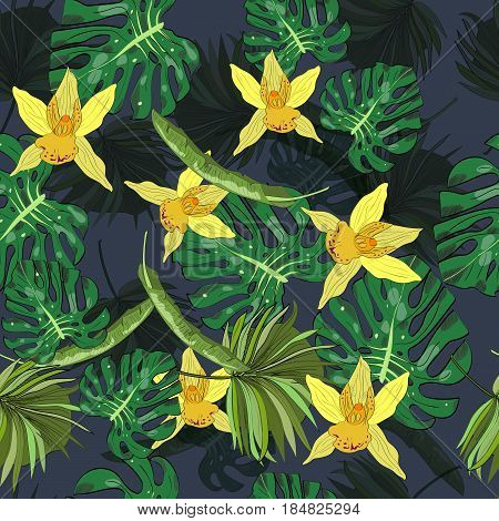 Seamless vector pattern of hand drawn flowers and leaves. Tropical background.
