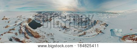panorama and just air on ice floes, terrain and scenery Antarctic .Sunrise, day, sunset. Shooting with quadrocopter.