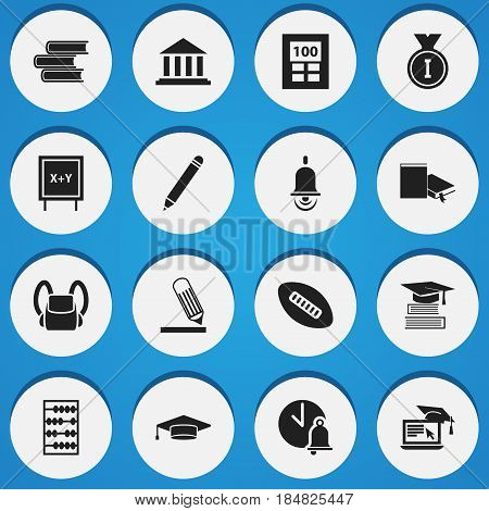 Set Of 16 Editable Education Icons. Includes Symbols Such As Schoolbag, Alarm Bell, Graduate And More. Can Be Used For Web, Mobile, UI And Infographic Design.