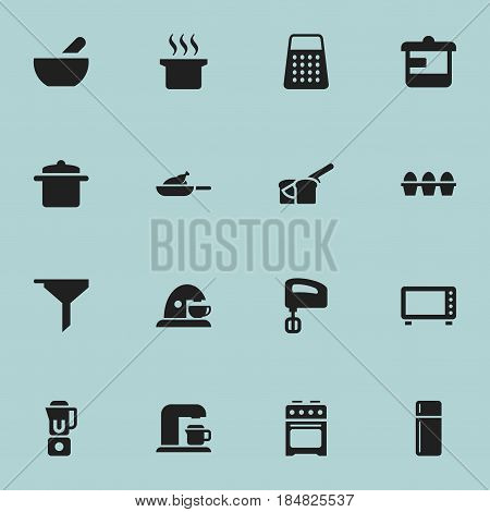 Set Of 16 Editable Cooking Icons. Includes Symbols Such As Egg Carton, Cookware, Agitator And More. Can Be Used For Web, Mobile, UI And Infographic Design.