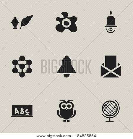 Set Of 9 Editable University Icons. Includes Symbols Such As Literature, Bell, Alarm Bell And More. Can Be Used For Web, Mobile, UI And Infographic Design.