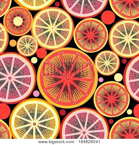 Graphic pattern of orange and lemon slices on a dark background