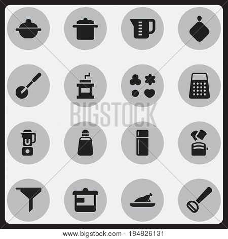 Set Of 16 Editable Food Icons. Includes Symbols Such As Shortcake, Slice Bread, Saucepan And More. Can Be Used For Web, Mobile, UI And Infographic Design.
