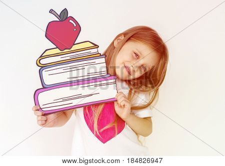 Kid portrait holding paper icon