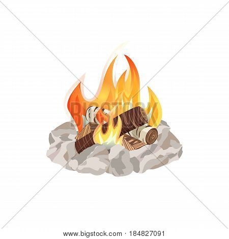 Campfire icon. Freehand drawn cartoon style. Basecamp fire rocks ring isolated on white. Wood logs burning in flame. Summer outdoor emblem. Campsite BBQ sign. Template for camping banner background