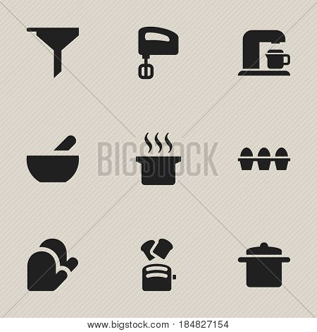 Set Of 9 Editable Cooking Icons. Includes Symbols Such As Egg Carton, Agitator, Cookware And More. Can Be Used For Web, Mobile, UI And Infographic Design.