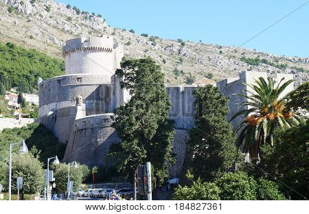 Stone fortifications surrounding the old town of Dubrovnik