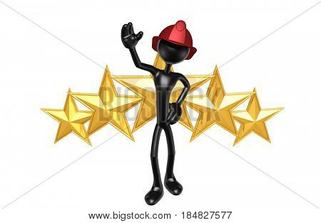 Fireman With Stars The Original 3D Character Illustration