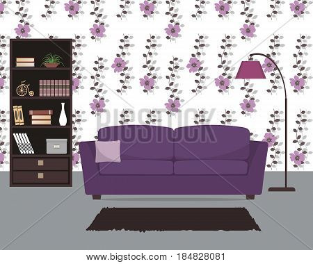 Purple living room with a sofa and a large lamp. There is also a bookcase with books and home decor, a flower pot in the picture. Vector flat illustration.