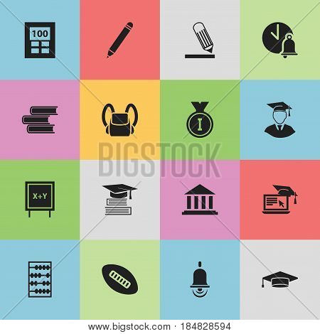 Set Of 16 Editable School Icons. Includes Symbols Such As Arithmetic, Writing, Distance Learning And More. Can Be Used For Web, Mobile, UI And Infographic Design.