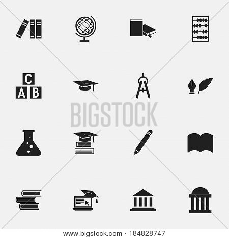 Set Of 16 Editable Graduation Icons. Includes Symbols Such As Library, Earth Planet, Distance Learning And More. Can Be Used For Web, Mobile, UI And Infographic Design.