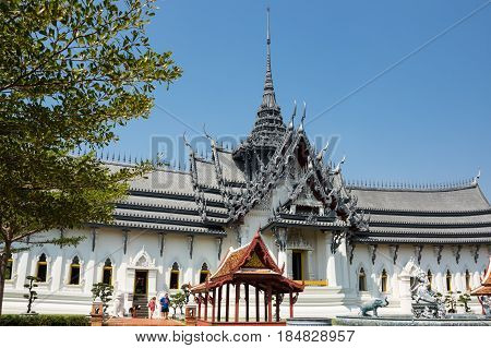 SAMUT PRAKAN THAILAND - FEBRUARY 05 2015: Ancient Siam (also known as Ancient City or Mueang Boran) the 320-hectare city with 116 structures of Thailand's famous monuments