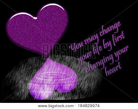 An inspirational graphic illustration with two dark purple hearts on a black background..reflected heart has a white water swirl and the words