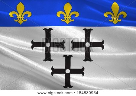 Flag of Moulins is a commune in central France capital of the Allier department. 3D illustration
