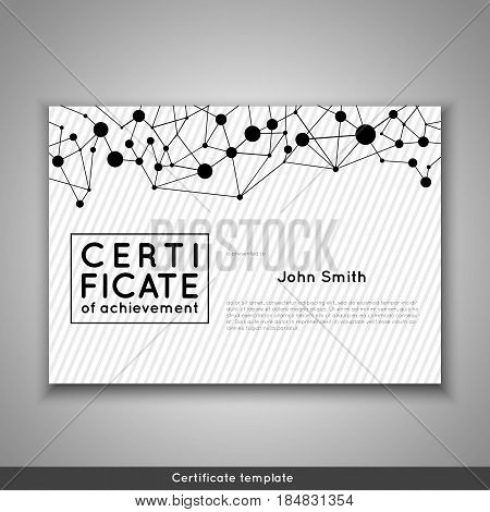 Certificate of appreciation completion achievement graduation diploma or award with connection abstract background. Stock vector.