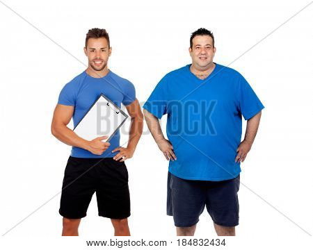 Fat man and his coach ready to train isolated on a white background