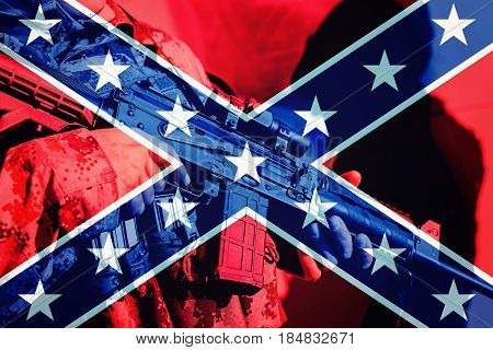 Soldier With Machine Gun With National Flag Of Confederate