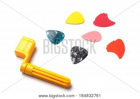 Guitar mediators isolated on a white background