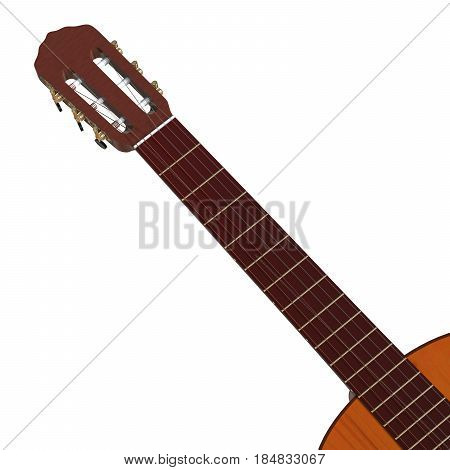 Realistic Acoustic Guitar 3D Illustration