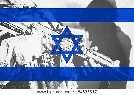 Soldier With Machine Gun With National Flag Of Israel