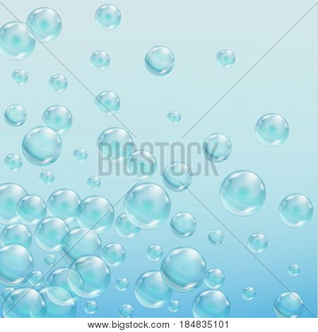 Abstract background with bubbles of the water. Iridescent soap bubbles with reflex and reflection, realistic vector effect 10 EPS.
