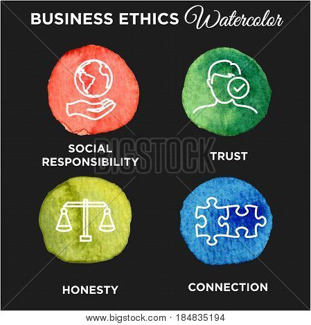 Business Ethics Icon Set Watercolor with social responsibility