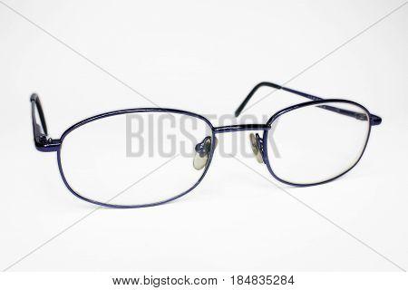 Blue eye glasses isolated on white background