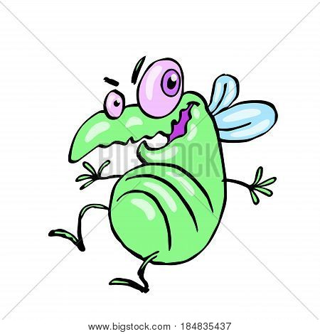 funny dancing cute fly. vector illustration. cartoon green character.