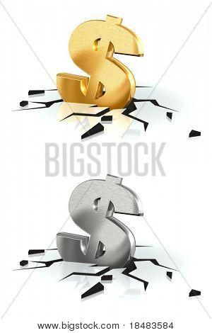 Crash of Dollar (gold and brushed metal)