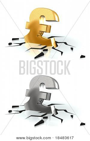 Crash of the golden Pound sterling and metal brushed on white background