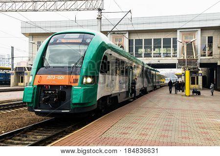 Belarussian railway diesel train PESA 730M (DP3) at Minsk railway station. Novemder 2014.