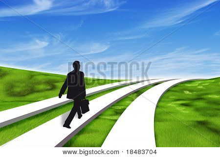 Black silhouetted businessman walking one of three paths through a 3d grassy landscape under a blue sky
