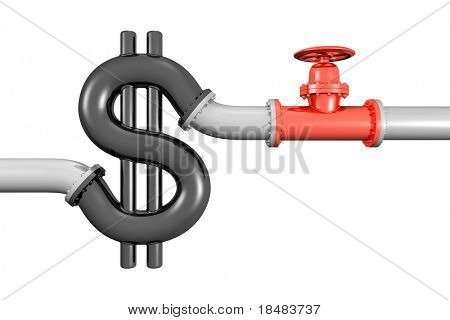Illustration of a red 3d shut off valve near a black pipe in the shape of a dollar symbol