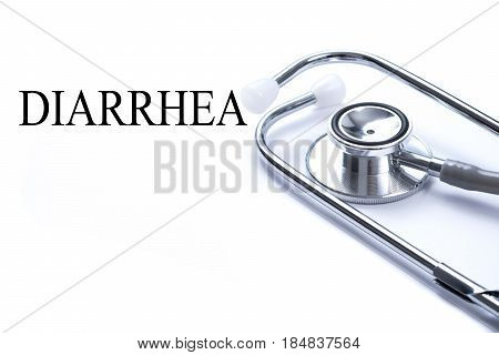 Page with DIARRHEA on the table with stethoscope medical concept.