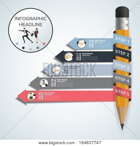 Business Concept Timeline. Infograph Template, Realistic Paper 5 Steps Infographic, Vector Banner Ca