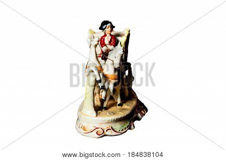 Figurine – Man On Coach Harnessed With Two Horses.