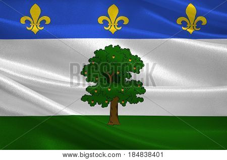 Flag of Privas is a commune of France capital of the Ardeche department. It is the smallest administrative centre of any department in France. 3D illustration