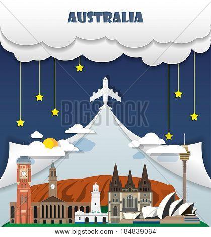 Australia Travel Background Landmark Global Travel And Journey Infographic Vector Design Template. I