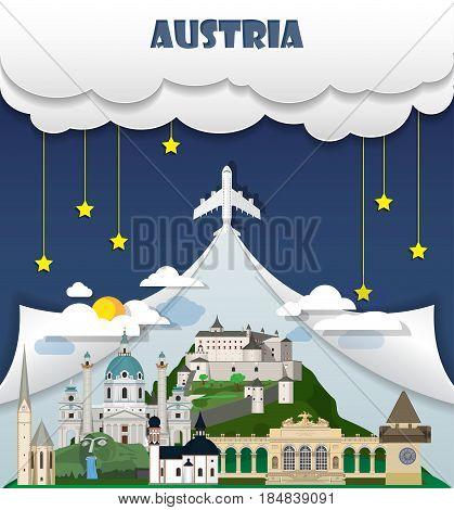 Austria Travel Background Landmark Global Travel And Journey Infographic Vector Design Template. Ill
